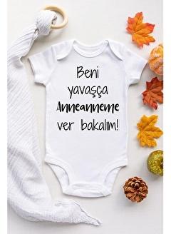 Happy Onesie Co Beni Yavaşça Anneanneme verin Çıtçıtlı Bebek Body